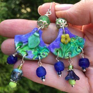 Jewelry - OOAK handpainted clay and glass earrings.
